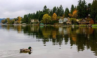 morning lake seattle autumn fall