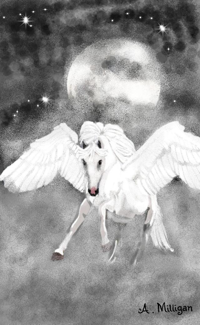 #wdpfog My first entry for wdpfog 😊 Step by step guide on my profile page 😆    #blackandwhite #colorsplash #petsandanimals #fog #horse  #fantasy  #draw.😊 ❤ 💚