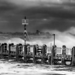 photography bw storm sea pier