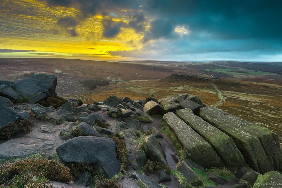Sunrise of two halves #photography #picsart #peakdistrict #derbyshire #landscape #landscapephotography #sunrise #goldenhour #stones #england #nikon #nature #storm #cloudy #view #vista #weather