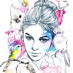illustration illust fashionillustration fashionillust beauty bird watercolor pencil pencildrawing draw drawing artwork
