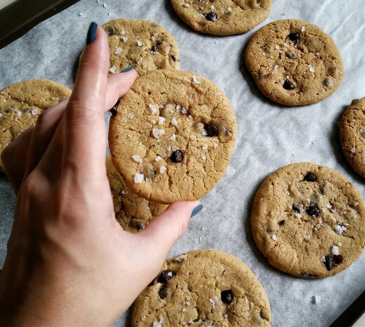 Chocolate chip cookies with sea salt. #birthday #blackandwhite #bokeh #colorsplash #colorful #food #cute #freetoedit #oldphoto #photography #retro #vintage #travel #summer #spring #pastel #sepia