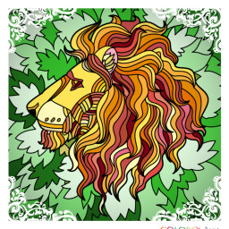 lion leaves colouringbook colouring