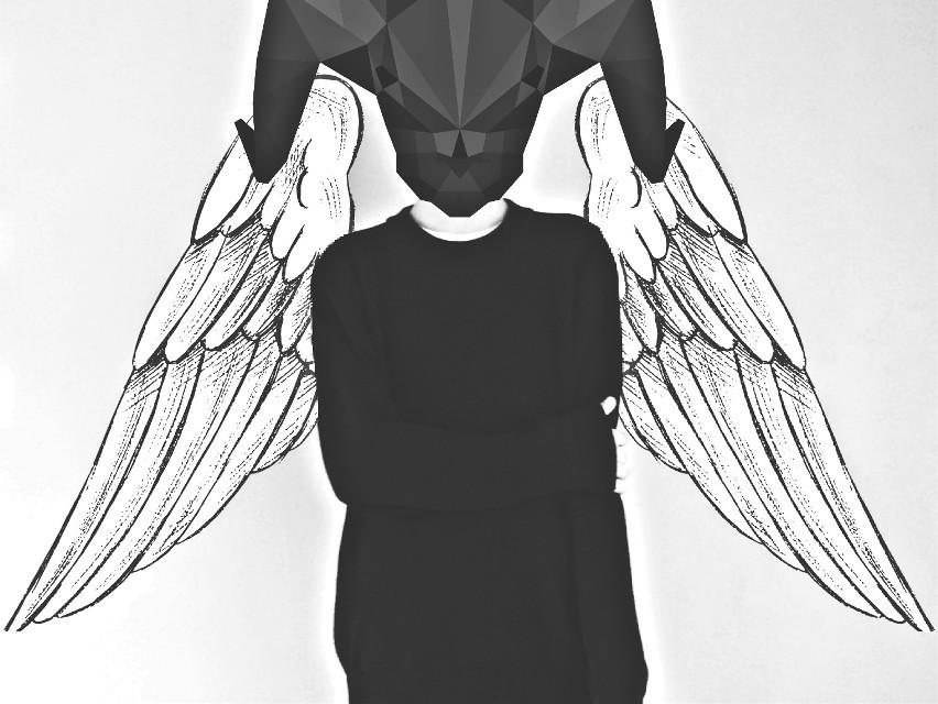 #blackandwhite  #dark  #wings  #geometric