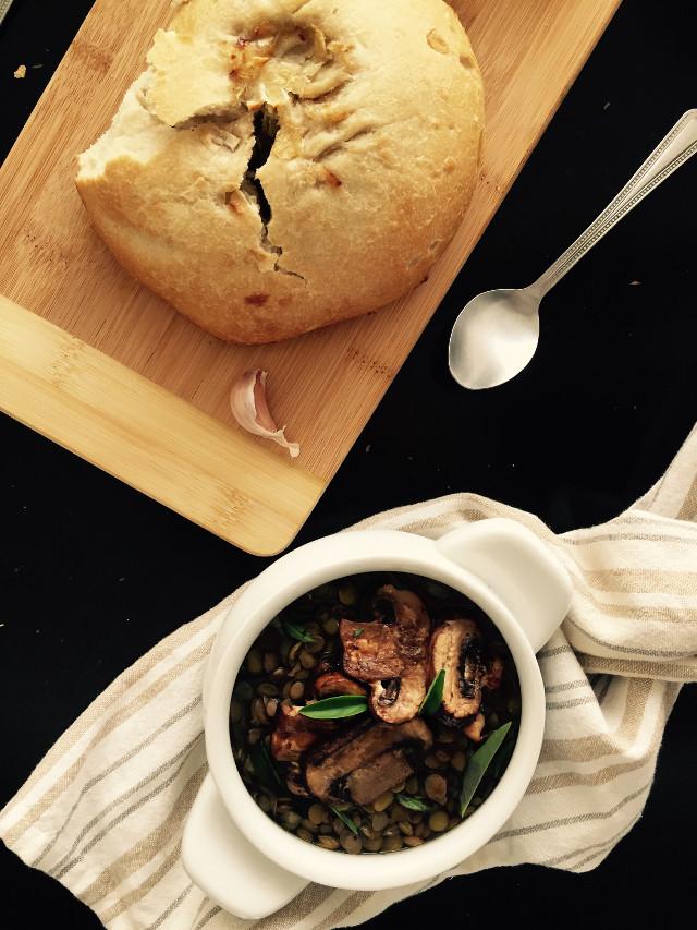 Mushroom & lentil soup! #kindkitchencr