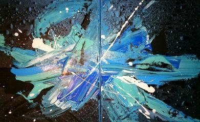 abstract art colorsplash drops blue