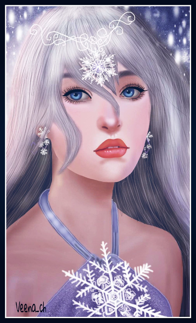 #wdpsnowflake   #drawing #mydrawing #art #digitalart #snowflakes #girl #beautiful #portrait
