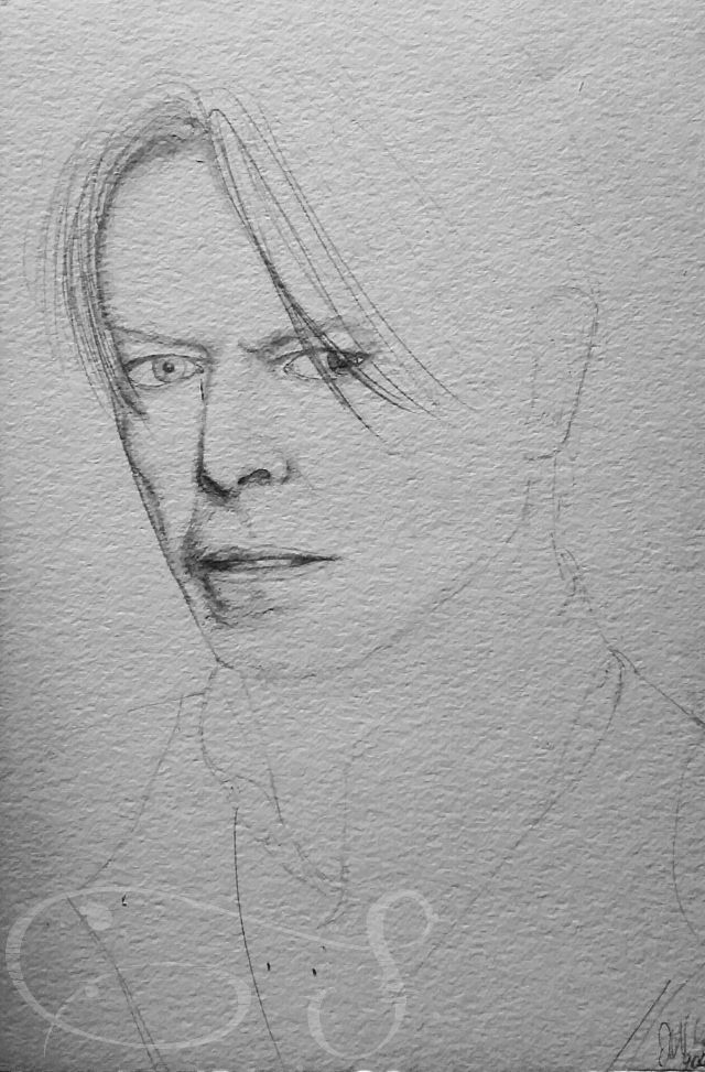 David Bowie pencil drawing