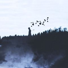 people silhouette doubleexposure emotions mountains