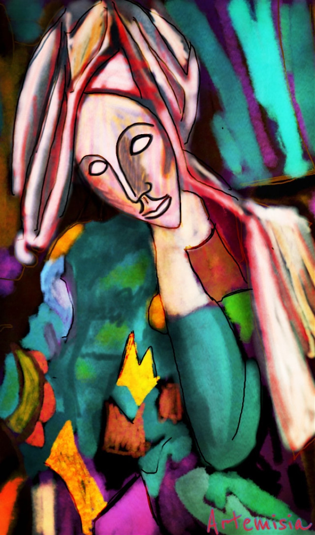 Lost in thoughts green woman    Vote and repost if you like! #wdppicasso #drawing #art #portrait