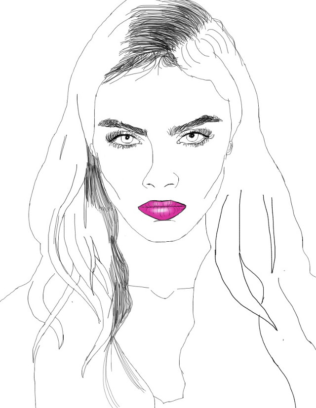this is just an unfinshed draft but #caradelevingne #outline #drawing
