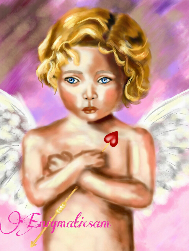 #WDPcupid   #drawing  #contest  #portrait  #face  #people  #emotions   #eyes  #blue  #pink  #wings  #angel  #heart  #love  #digitaldrawing  #beautifypicsart  #baby  #golden  #hair  #white  #red  #boy  #cute