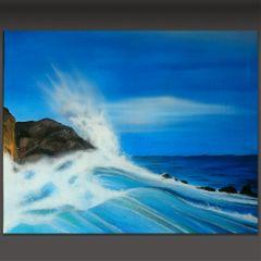 painting seascape waves sea blue