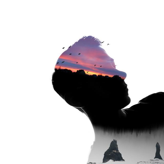 Disappeared.   #nature #me #doubleexposure #silhouette #sunset #artisticselfie  op (background/bottom): unsplash.com
