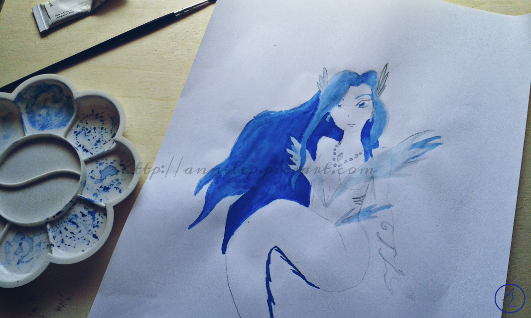 This is a drawing I made for a friend for her birthday! I tried to colour it, but I'm not totally satisfied ( I'm not so good with colours! :(  ). I need to work harder on that!   #drawing  #pencilart  #pencildrawing  #blue  #mermaid  #woman