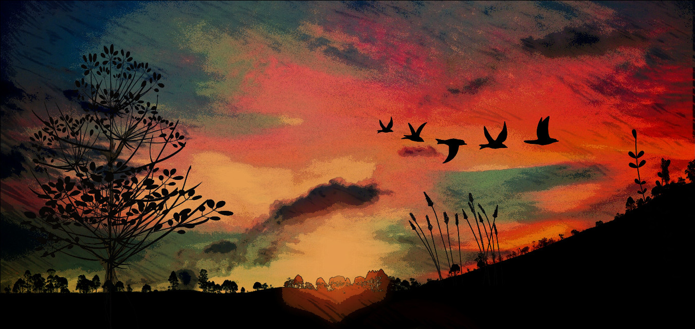#sunset #freetoedit #pencilart  # gouache Another version with painterly tweaks.