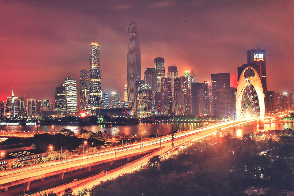 Guangzhou, Liede Bridge #photography #cityscape #citylights #china #cityscenery #cityview #pearl river #streetlights #skylight #sky and  clouds
