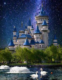 doubleexposure blue tale castle art