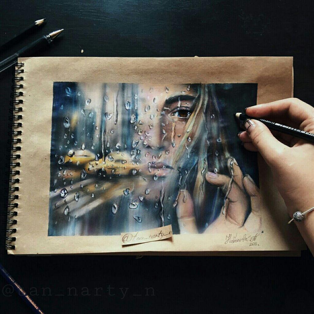 #drawing #portrait #duableexposure #reflection #coloredpencil #rain