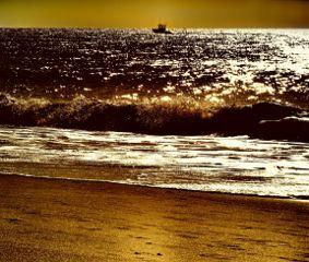 beach ocean boat golden madewithpicsart